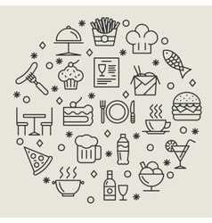Restaurant and foods outline icons set vector