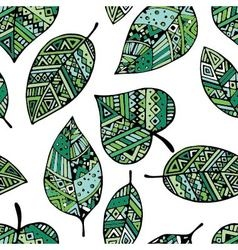 Green ethnic mexican leaf seamless pattern pr vector