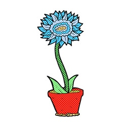 Comic cartoon flower in pot vector