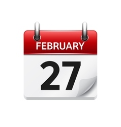 February 27 flat daily calendar icon date vector