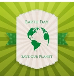 Earth day big paper label and festive green ribbon vector