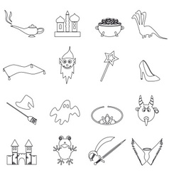 Black simple fairy tales outline icons set eps10 vector