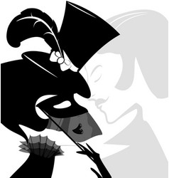 Black white head of lady with mask vector