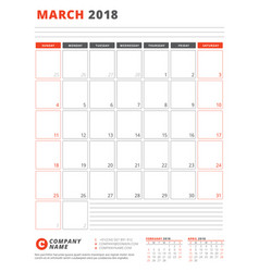Calendar template for 2018 year march business vector