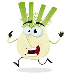 Cartoon happy fennel character vector