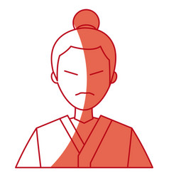 character japanese man clothes culture red line vector image