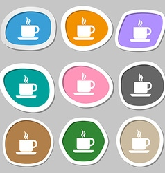 coffee icon symbols Multicolored paper stickers vector image
