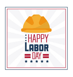 Colorful poster of happy labor day in frame with vector