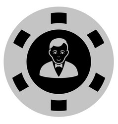 Croupier dealer black casino chip vector