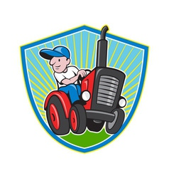 Farmer driving vintage tractor cartoon vector