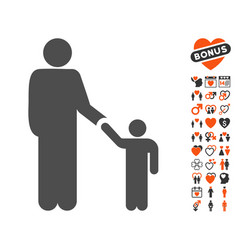 Father child icon with dating bonus vector