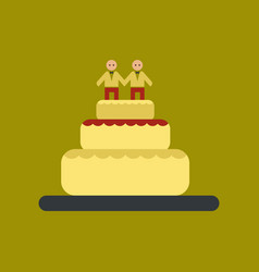 Flat icon on stylish background gay wedding cake vector