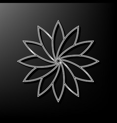 Flower sign gray 3d printed icon on black vector
