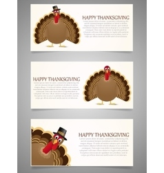Happy thanksgiving banner set with turkey vector