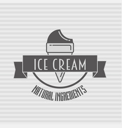 Ice cream vintage retro label badge or logo vector