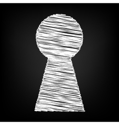 Keyhole sign scribble effect vector