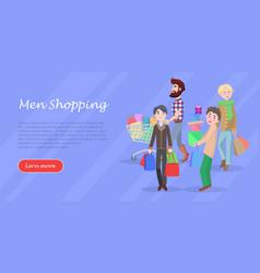 Men shopping conceptual flat web banner vector