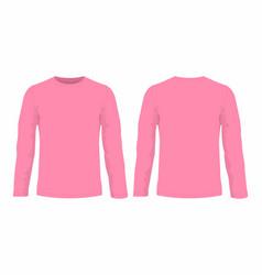 Mens pink long sleeve t shirt vector