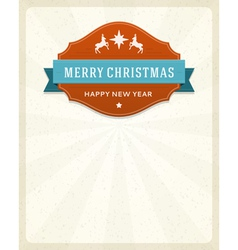 Merry Christmas card label and ribbon vector image