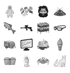 Monster crab cat and other web icon in vector