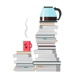 Offee pot and cup of coffee on the heap of books vector