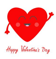 Red heart face head with hands cute cartoon vector