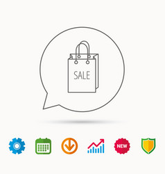 Sale shopping bag icon discount handbag sign vector