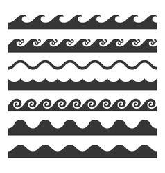 Seamless Wave Pattern Set Template vector image vector image
