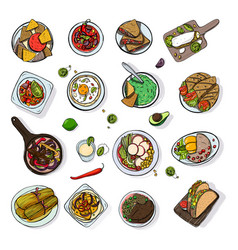 Set of mexican traditional food different dishes vector
