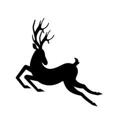 Silhouette deer running reindeer moving leaping vector