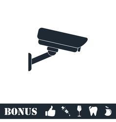 Surveillance camera icon flat vector