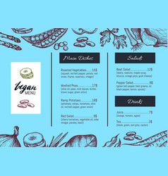 vegan cafe menu identity hand drawn design vector image vector image