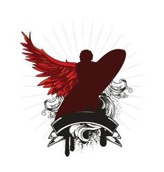 vintage emblem with surfer vector image vector image