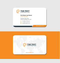 White and orange business card with world map vector