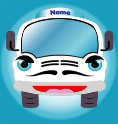 white cartoon smiling truck front view vector image vector image