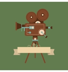 Retro film projector and cinema related icons vector
