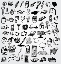 Big set of doodled internet icons vector