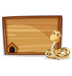An empty wooden signboard with a snake vector