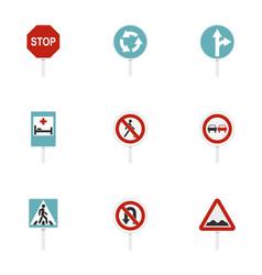 warning traffic sign icons set flat style vector image