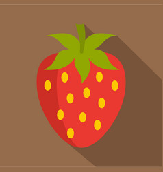 red fresh strawberry icon flat style vector image