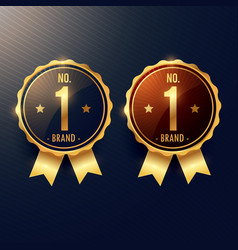 No 1 brand golden label and badge in two colors vector