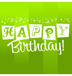 Green birthday greeting card vector