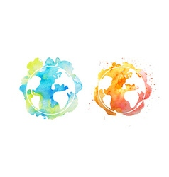 Earth day with hand drawn watercolor planets vector