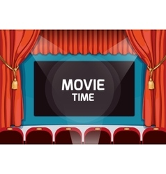 Vintage theater stage with red curtains and vector