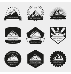 High mountain logo set vector