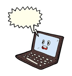 Cartoon laptop computer with speech bubble vector