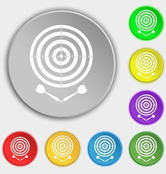 Darts icon sign symbol on eight flat buttons vector