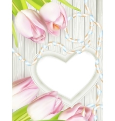 Wooden heart shape frame EPS 10 vector image