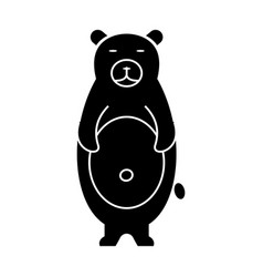 bear cute icon black sign on vector image vector image