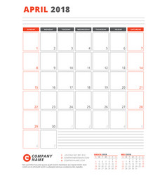 calendar template for 2018 year april business vector image